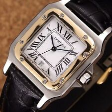 Authentic Santos De Cartier Large LM Date 18K Yellow Gold Quartz Mens Watch