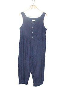 Laura Ashley Size 12 Vintage Blue Paisley Sleeveless Light Corduroy Jumpsuit