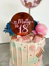 Card Disc Birthday Cake Personalised Topper. Name Age Custom Cake Topper