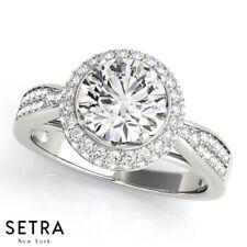 Halo Semi Mount Genuine Diamond Engagement 14k Gold Ring