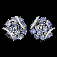 Unheated Oval Blue Tanzanite 5x3mm Cubic Zirconia 925 Sterling Silver Earrings
