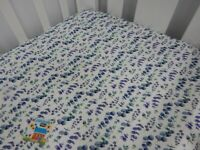 Cot Sheet Fitted Purple Eucalyptus Leaves Pure Cotton Fits to79 x 130cm mattress