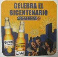 CORONA EXTRA & LIGHT CELEBRA EL BICENTENARIO 1810-2010 Beer COASTER, Mat, MEXICO