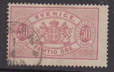 Suède: officiel 1881 50 ore rose perf 13 sg O39a utilisé
