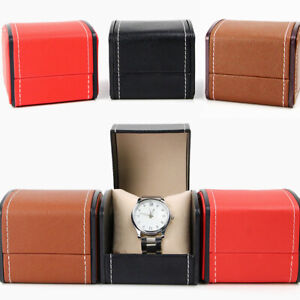 PU Leather Watch Display Case Single-Grid with Cushion Jewelry Storage Box #HH1