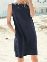 NEXT Navy Blue Linen Blend Shift Dress Size 14 BNWT RRP £26 Holiday Beach 💙