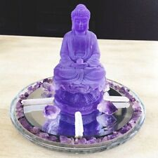 Buddha Meditation Gemstone Set Figurine Reiki  Altar Decor Amethyst Healing Gift