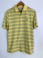 Masters Performance Collection Yellow Striped Golf Polo Short Sleeve Mens Small