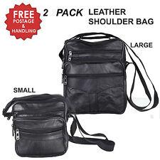 2 PACK Leather Shoulder Bag Black Satchel Messenger Unisex Medium Small travel