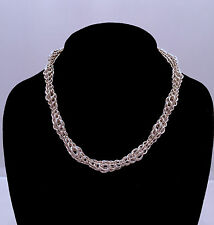 Chainmaille Sterling Silver Graduated Full Persian Necklace. 16 Inches.