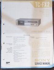 Sony TC-FX2 cassette deck service repair workshop manual (original copy)
