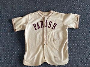 "Vintage 1940'/50's Wool Minor League Baseball Jersey.  ""Parish"" Size Small"