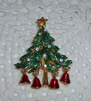 Vintage Enamel Dangle Bell Christmas Tree Brooch Pin Clear & Red Rhinestone  C28