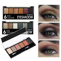 6 Farben Glitter Lidschatten-Palette Matte Waterproof Makeup Kit langlebig S7N1
