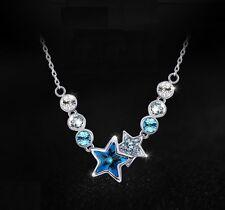 Kette Halskette mit Anhänger Geburtstaggeschenk Kristall Sterne Silberkette blau