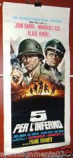 5 PER L'INFERNO {KLAUS KINSKI } Original Italian Film Poster 60s