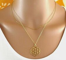 Double layered gold seed of life necklace,Seed of life necklace,flower of life