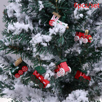 6PCS/Set Christmas Tree Decorations Wood Painted Train Heads BX