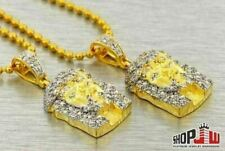 14k Gold Plated Simulated Diamond Double Jesus Piece Micro Small Chain Set Style