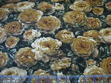 3 Yards Quilt Cotton Fabric - Kona Bay Roses Amber Gold Flowers w Leaves Green