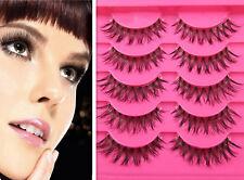 5pairs Natural False Eyelashes Set Handmade Crisscross Long Ext Makeup Eye Lash