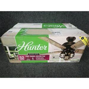 """Hunter 53420 Port Isabel 52"""" LED Indoor/Outdoor Ceiling Fan. Matte Black"""
