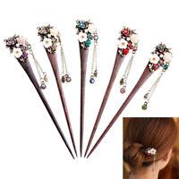 1PC Women's Flower Wooden Hair Stick Hairpin Crystal Hair Pins Retro Gift