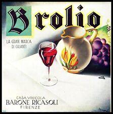 PUBBLICITA' 1932 BROLIO VINO CHIANTI RICASOLI FIRENZE WINE ARREDO BAR CANTINA