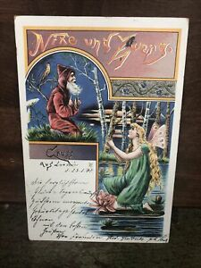 Vintage Old World Santa Xmas Postcard 1901 Water Lily Fairy Butterfly Wings