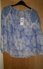 VINTAGE AMERICA SIZE XS BLUE TUNIC TOP NEW WITH TAGS