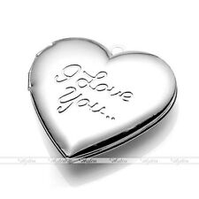 Silvery Heart I LOVE YOU Picture Photo Frame Locket Pendant Charms Bead Findings