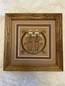 Signed Navajo Sand Painting R. BEGAY Double Yu Beacheu Frame Sandpaint Painting