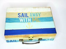 Sail Away Beach Ocean Boat Themed Keepsake Box Suitcase with Clasp & Strap