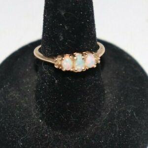 10k Gold  EMA Opal Ring  3 Beautiful Opals Size 6.75
