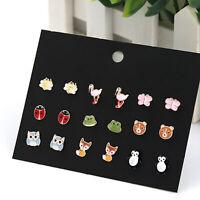9 Pairs Animals Hypoallergenic Stud Earrings Set For Kid Girl Cute Ear Stud Gift
