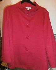 NWT! JM COLLECTION BUTTON FRONT STRETCH RED JACKET-SZ LARGE