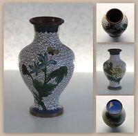 Cloissoné Emaille Vase Blumenvase Jugendstil Art Deco ca. 11x6 cm Metalvase xz