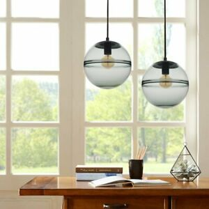 Contemporary Handcrafted Glass 11-in Globe Ceiling Light Pendent Grayish Blue