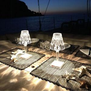 2PC Kartell Diamond Acrylic Table Lamp Rechargeable Touch Sensor Bedroom Light
