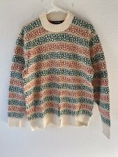 Vtg 80s PURITAN THERMAX Sweater Beige Striped Wool Blend Ski Pullover Men's XL