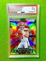 BAKER MAYFIELD SILVER PRIZM ROOKIE CARD GRADED PSA 9 MINT BROWNS RC  2018 Panini