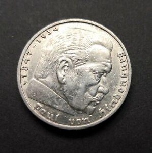 German .900 Silver 5 Mark Coin 1936F 5 Mark Hindenburg Issue  (723)