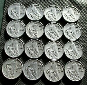 LOT OF SIXTEEN OLD 5 ZLOTY COINS OF POLAND PEOPLE'S REPUBLIC FISHERMAN - MIX 341