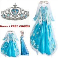 Kids Girls Dresses Elsa Frozen dress costume Princess Anna party dresses 2-8Y