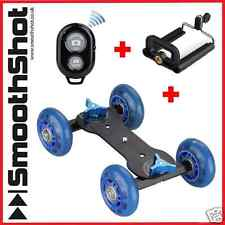 CAMERA DOLLY CAR WHEEL ROLLER SLIDER DSLR SMARTPHONE BLUETOOTH REMOTE PACKAGE