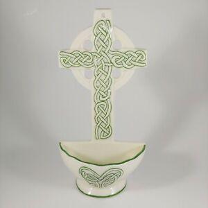 "Green Celtic Cross Wall Pocket - 7"" Small Irish Hanging Planter / Vase - Easter"