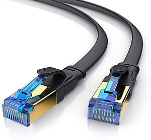 Câble rj45 cat 8 PLAT ethernet 3m 5m 7.5m 10m 15m NOIR compatible cat5 cat6 cat7