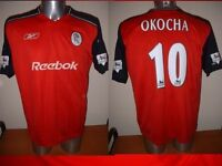 Bolton Wanderers Okocha Adult XL Shirt Jersey Football Soccer Reebok Nigeria Top