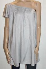 SUPRE Designer Grey One Shoulder Ruffled Sleeve Flared Dress Size M BNWT #TB78