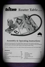 Triton Router Table RTA300 Assembly and Operation Instructions Manual
